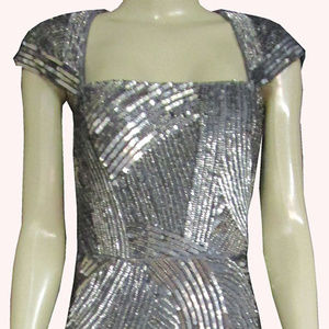 Adrianna Papell Dress Prom Gray With Sequin 36